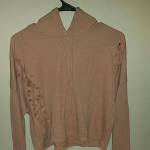 distressed pink hoddie shirt